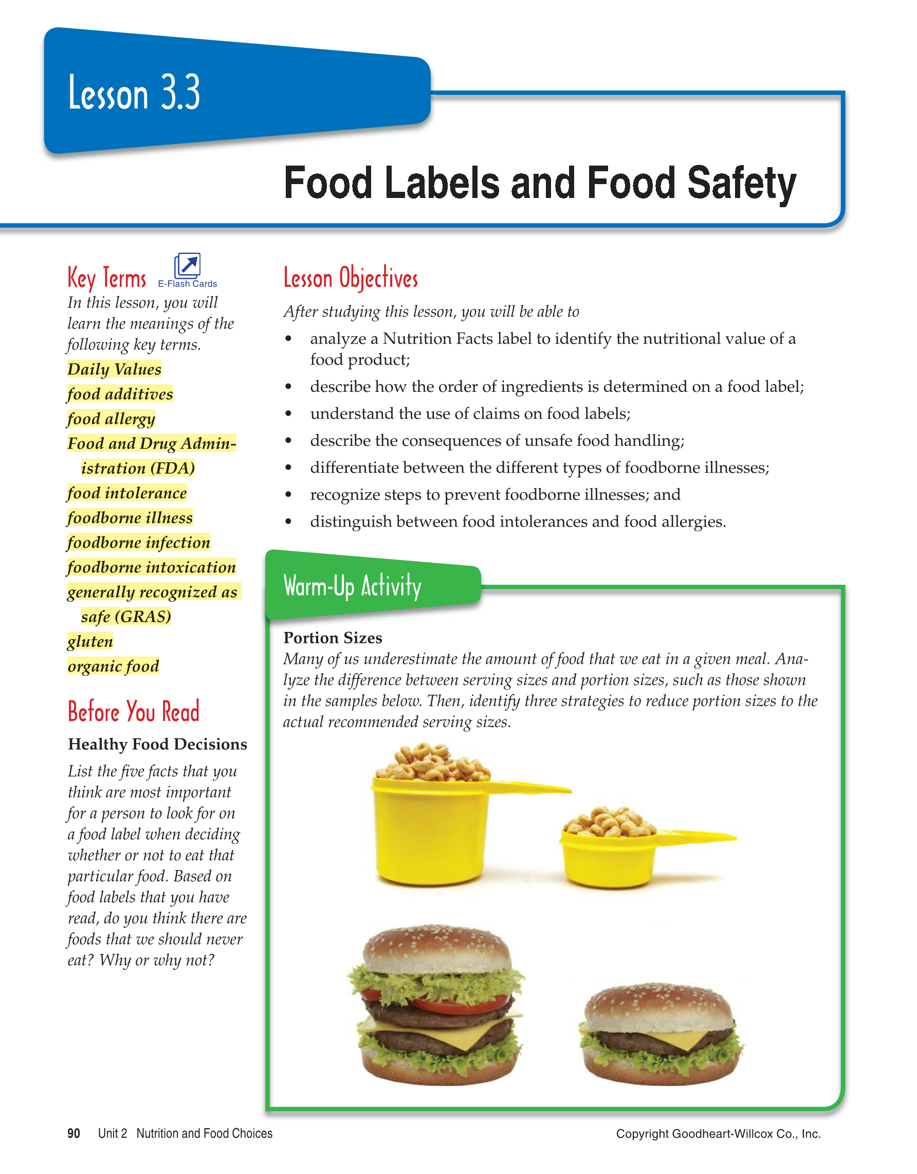 nutritional value of food products essay