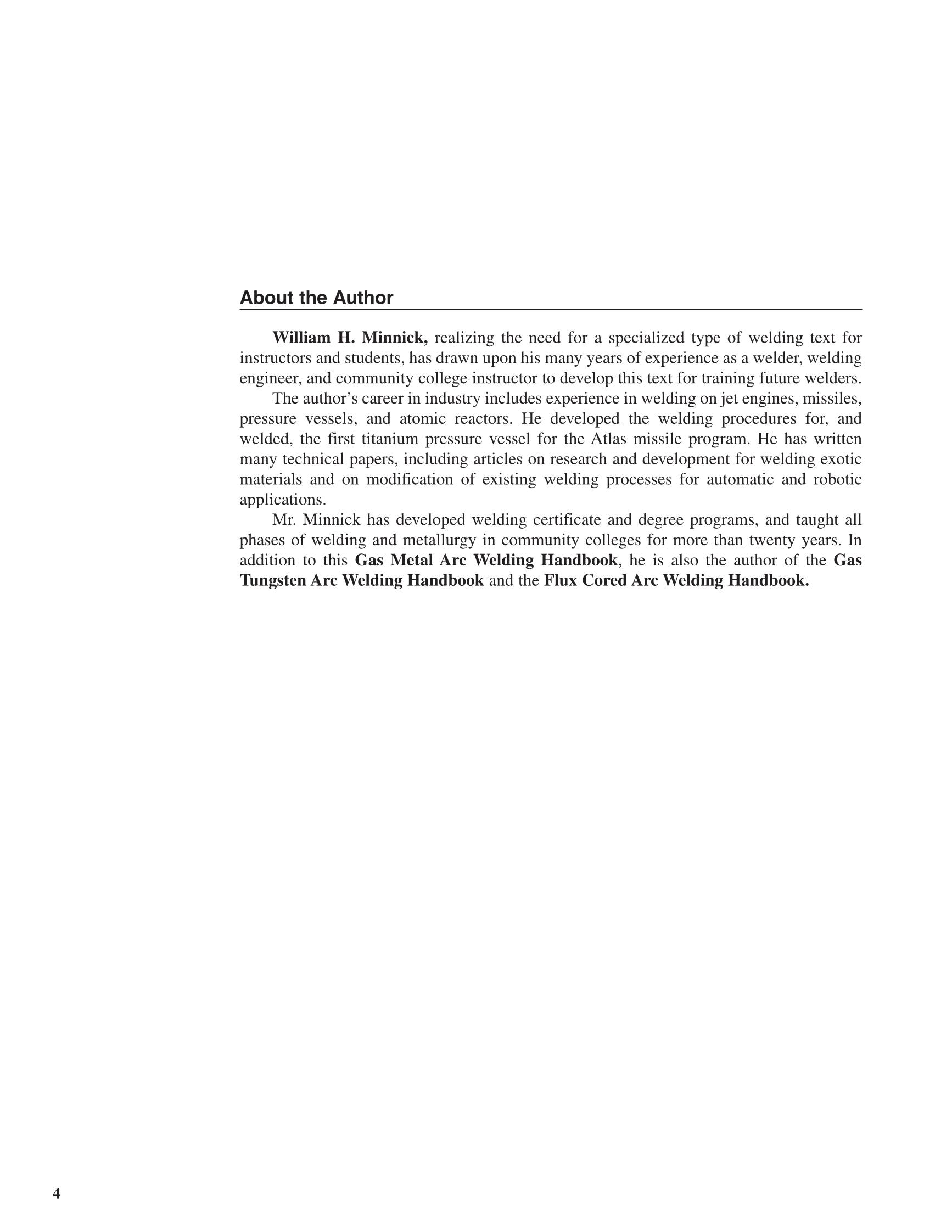 Printable Gas Metal Arc Welding Handbook 5th Edition Page 4
